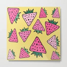 strawberry yellow Metal Print