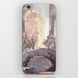Skyscrapers rising above iconic bridge in Central Park- New York City, New Yo iPhone Skin