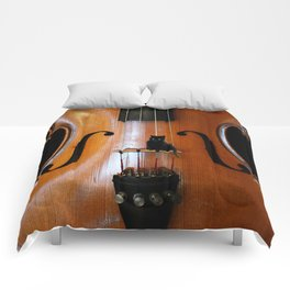 Black Cat And Violin #decor #society6 Comforters