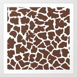Animal Print (Giraffe Pattern) - Brown White Art Print