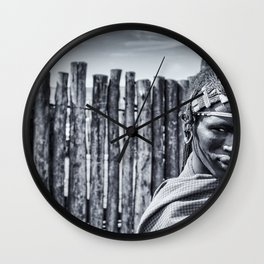 4117BW Maasai Warrior Ngorongoro Tanzania Wall Clock