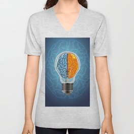 Left and Right Brain, how an idea originated, whether from the left or right brain Unisex V-Neck