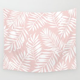Tropical Palm Leaves - Pink & White Palm Leaf Pattern Wall Tapestry