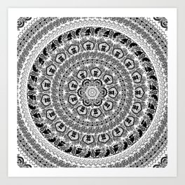 Black Pug Yoga Medallion Art Print