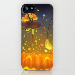 Witch Surprise From Pumpkin in Halloween Night iPhone Case