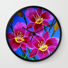Day lilies Wall Clock