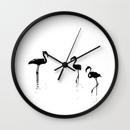 We Are The Three Flamingos Silhouette In Black Wall Clock