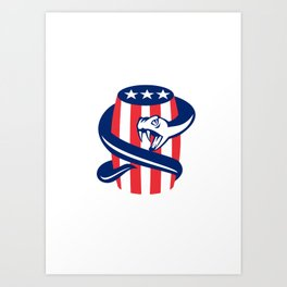 Viper Coiling Up Keg USA Flag Retro Art Print