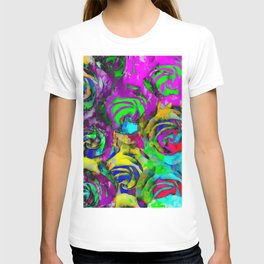 closeup rose texture pattern abstract background in pink yellow green blue T-shirt