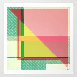 Green Line - pink graphic Art Print