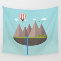 playstation Wall Tapestries featuring Flat island  by eARTh