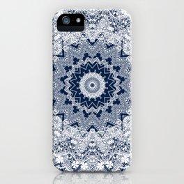 White blue lace pattern . Kaleidoscope . iPhone Case