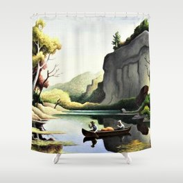 Classical Masterpiece 'Ozark Reflections' by Thomas Hart Benton Shower Curtain