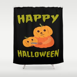 Halloween Funny Pumpkin For Halloween Motto Party Shower Curtain