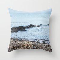 denmark Throw Pillows featuring Denmark Beach by Kayleigh Rappaport