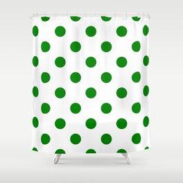 Polka Dots - Green on White Shower Curtain