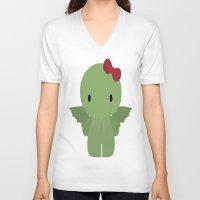 cthulu V-neck T-shirts featuring Cthulu Kitty by TeiMari Arts