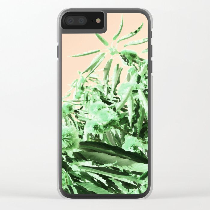 Green chestnut tree impressions Clear iPhone Case