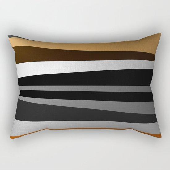 Metallic II - Abstract, geometric, metallic effect stripes, gold, silver, black Rectangular Pillow