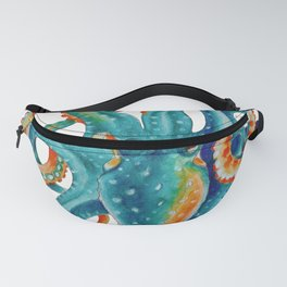 Octopus Teal Watercolor Ink Fanny Pack