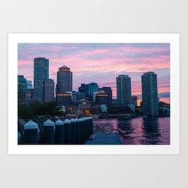 Sunset over Seaport Boston Art Print