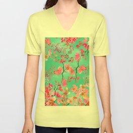 Elegant hand paint watercolor spring floral Unisex V-Neck