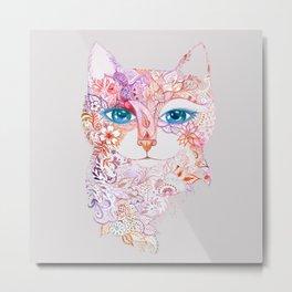 Cat with  Tattoo - Artist Oxana Zaika -painting Metal Print