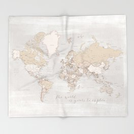 """The world is yours to explore, rustic world map with cities, """"Lucille"""" Throw Blanket"""