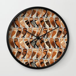 Owls of Athens Wall Clock