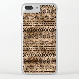 Ancient  Gold and Black Tribal Ethnic  Pattern Clear iPhone Case