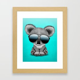 Cute Baby Koala Bear Wearing Sunglasses Framed Art Print
