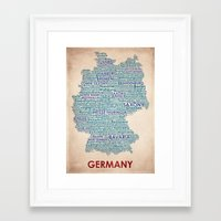 germany Framed Art Prints featuring Germany by Wordmaps