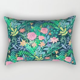 Roses + Green Messy Floral Posie Rectangular Pillow