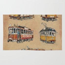 Old vintage yelow trams -nostagic pubic transport Rug