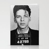 frank sinatra Stationery Cards featuring Frank Sinatra Mugshot by Neon Monsters