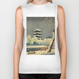 Asano Takeji Sarusawa Pond Japanese Woodblock print Winter Snow Landscape Pagoda With Deers Biker Tank
