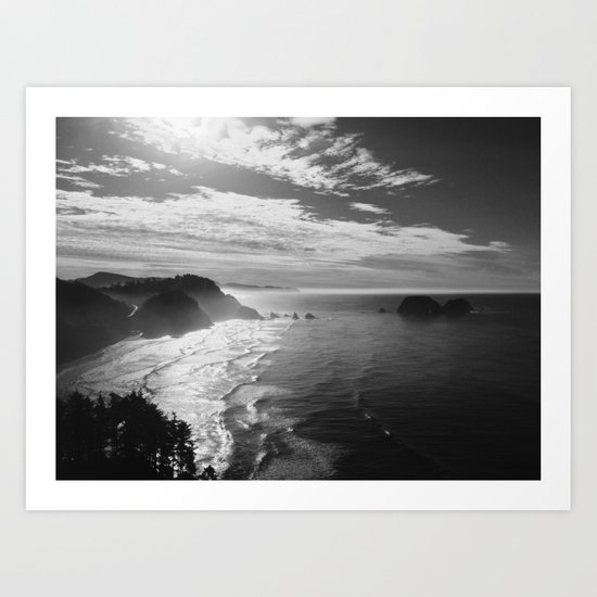 Cape Lookout - Black & White Art Print