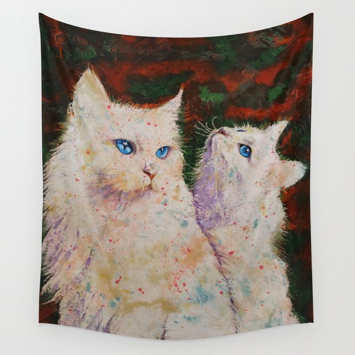 White Cats Wall Tapestry