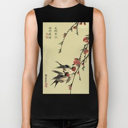 Moon Swallows and Peach Blossoms Biker Tank