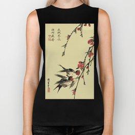 Moon Swallows and Peach Blossoms Biker Tank