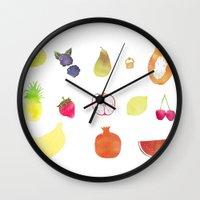 fruits Wall Clocks featuring fruits by Ewa Pacia
