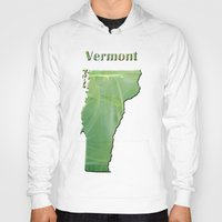 vermont Hoodies featuring Vermont Map by Roger Wedegis