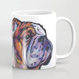 Fun English Bulldog Dog Portrait bright colorful Pop Art Painting by LEA Coffee Mug