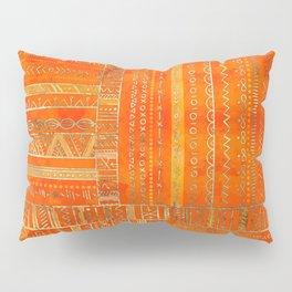 Tribal Ethnic pattern gold on bright orange Pillow Sham