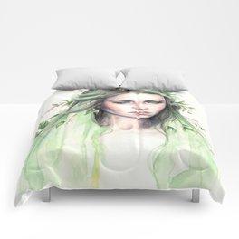 """Terra"" Earth spirit Watercolour portrait Comforters"
