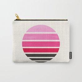 Magenta Mid Century Modern Minimalist Circle Round Photo Staggered Sunset Geometric Stripe Design Carry-All Pouch