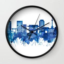 Kyoto Japan Skyline Blue Wall Clock