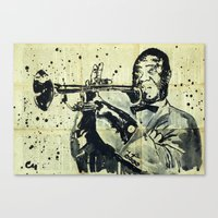 louis armstrong Canvas Prints featuring Louis Armstrong. by Marat Cherny