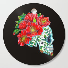 Sugar Skull with Red Poppies Cutting Board
