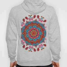 Colourful Indian Flower Patterned Mandala Red Pink & Blue Hoody